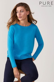 Pure Collection Blue Toccato Relaxed Split Hem Sweater