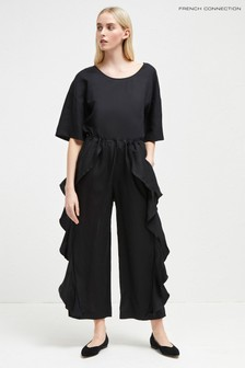 French Connection Black Ruffle Jumpsuit