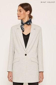 Mint Velvet Langer einreihiger Blazer im 80er-Style, grau