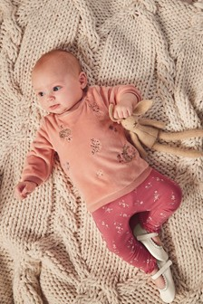 Embroidered Fleece And Leggings Set (0mths-2yrs)