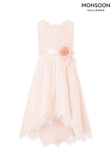 Monsoon Pale Pink Rebecca Hi-Low Lace Dress