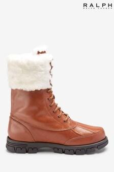 Ralph Lauren Tan Leather Dabney Hiking Boots