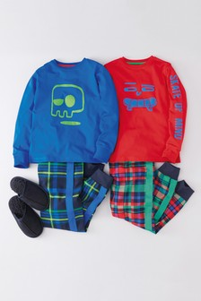2 Pack Face Print Woven Check Pyjamas (3-16yrs)