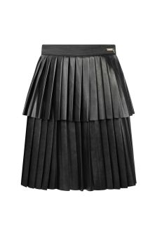 Girls Black Leather Pleated Skirt