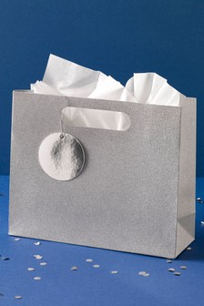 Silver Glitter Gift Bag