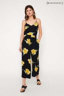 Warehouse Black/Yellow Floral Culottes