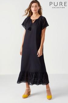 Vestido largo de algodón con bordados de Pure Collection