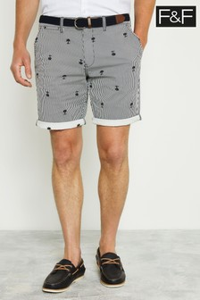 F&F Navy Stripe Palm Shorts