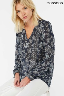 Monsoon Blue Elsie Mix Print Top