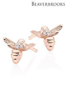 Beaverbrooks Mini B Cubic Zirconia Bee Earrings