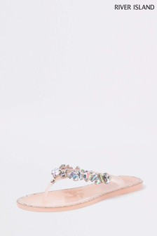 River Island Pink Gem Jelly Sandal