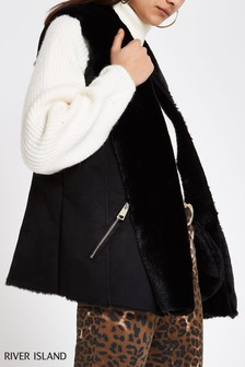 River Island Black Faux Fur Gilet