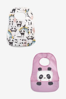 2 Pack Panda Character Crumb Catcher Bibs