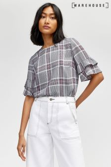 Warehouse Grey Check Top