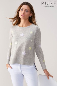 Pure Collection Grey Toccato Relaxed Split Hem Sweater