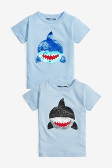 Short Sleeve Shark Flippy Sequin T-Shirt (9mths-7yrs)