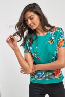 Floral Border Print T-Shirt