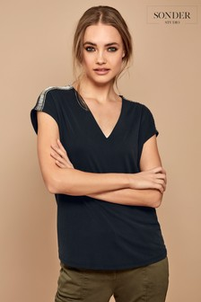 Sonder Studio Charcoal Grey Bling Shoulder Cupro T-Shirt