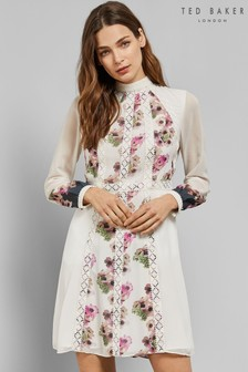 Ted Baker Ivory Lace Floral Midi Dress