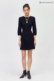 Warehouse Black Puff Sleeve Crepe Dress