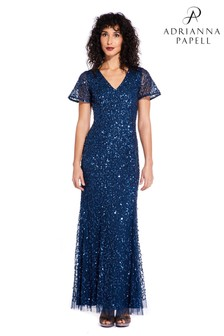 Adrianna Papell Blue Beaded Flare Sleeve Gown