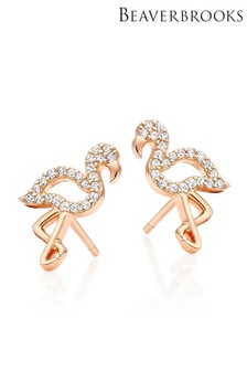Beaverbrooks Silver Rose Gold Plated CZ Flamingo Earrings