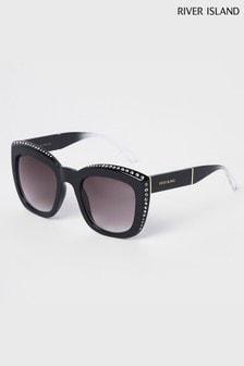 River Island Black Diamanté Detail Sunglasses