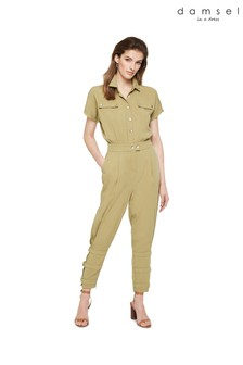 Damsel In A Dress Green Violia Tapered Ankle Detail Jumpsuit