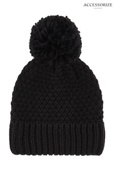 Accessorize Black Pom Beanie