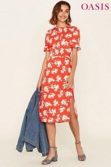 Oasis Red Foulard Midi Dress