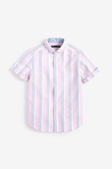 Оксфордская рубашка в полоску с коротким рукавом (3-16 лет)