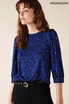 Monsoon Blue Animal Print Cuff Sleeve Top