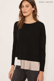 Mint Velvet Black Pleated Layered Knit