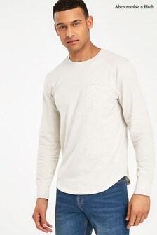 Белая футболка с длинным рукавом Abercrombie & Fitch