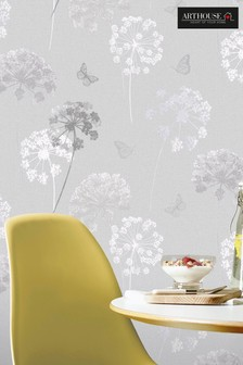 Kitty Motif Floral Wallpaper by Arthouse