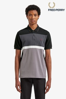 Fred Perry Black Blocked Panel Pique Polo