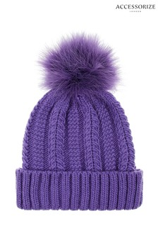 Accessorize Purple Luxe Pom Beanie