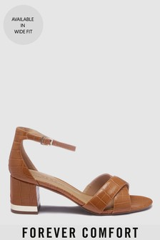Forever Comfort® Cross Over Block Heel Sandals