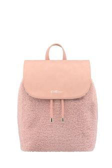CK Pink Solid Shearling Backpack