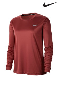Nike Miler Red Long Sleeved Running Top