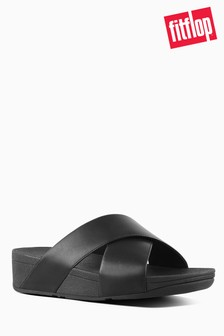 FitFlop™ Leather Lulu Cross Slide Sandal