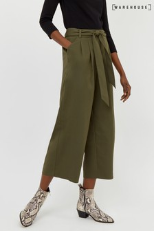 Warehouse Green Tie Waist Culotte