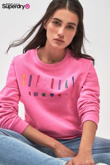 Superdry Pink Multi Embroidered Crew