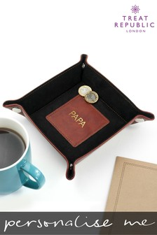 Personalised Luxury Brown Valet Tray by Treat Republic