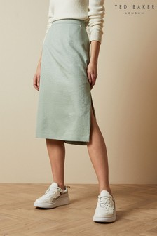 Ted Baker Green Narlica Panelled Skirt With Side Slit