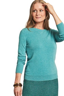 Pure Collection Blue Cashmere Crew Neck Sweater