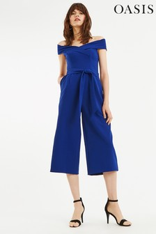 Oasis Blue Bardot Jumpsuit