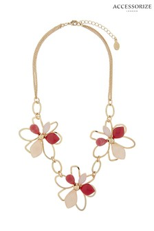 Accessorize Tilly Statement-Halskette mit Blumendesign, rosa