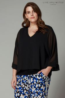 Live Unlimited Black Overlay Chiffon Blouse