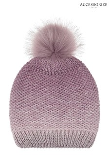 Accessorize Pink Ombre Space Dye Pom Beanie